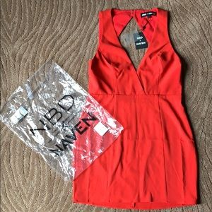 NWT NBD x NAVEN Sylvia Red Dress, Large.